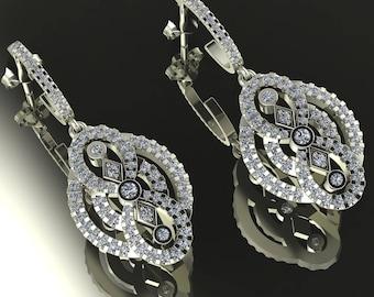 14K White Gold Earring with White Diamonds    M-ER1003