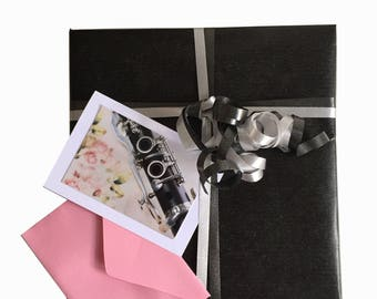 Clarinet-Romantic-set of 5 mini-cards-with roses-mini greeting card-Photo card-Photo
