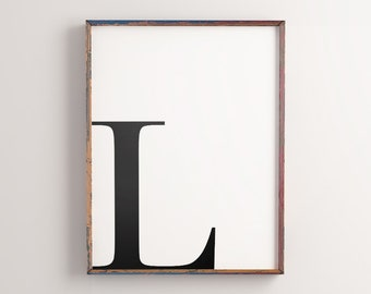 """Initial Printable Art """"L"""", Letter Word Art, Alphabet Typography Art, Minimalist Wall Quote Art Poster *Instant Download, Buy 2 Get 1 Free*"""