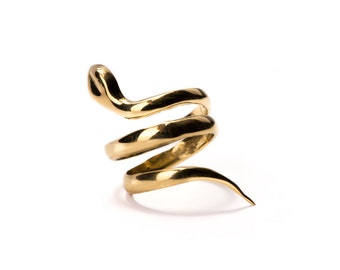 Snake Ring Brass or Sterling Silver Adjustable, Wrap Ring, Serpent Ring, Tribal Jewellery Gift Boxed + Gift Bag , Free UK Delivery