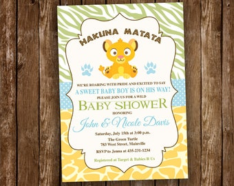 Lion King Baby Shower Invitation - Digital or Printed