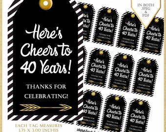40th Birthday Tag:40th Birthday Party Favor Tags, Cheers to 40 years printable tags, Wine Tags Milestone, Retirement Party Tags, #12217