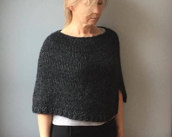 Alpaca cape-Knit Wool poncho-Wool wrap-Knit capelet poncho-Alpaca poncho sweater-Crop sweater-Alpaca poncho-Grey poncho cape-JPalKnits