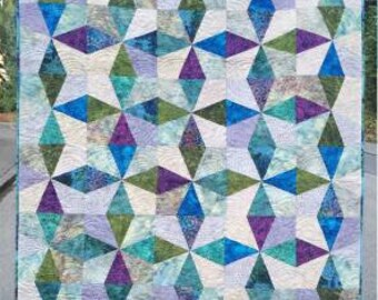 Compass Rose Quilt Pattern - Saginaw St Quilts #SSQ439 - Diamond Wedge Quilt Pattern - Scrap Friendly Quilt Pattern