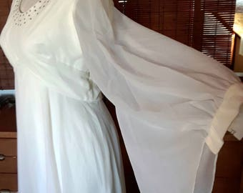 Vintage 70s Off White Sheer angel Sleeve Maxi Empire Dress M