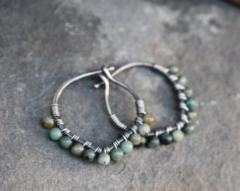 Sterling Silver Hoops, African Turquoise, 3/4 Inch hoops, Petal Hoops, Stone Hoop, Wire Wrapped Hoops, Lightweight Earrings, Oxidized Silver