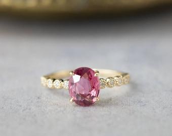 14k gold large pink tourmaline alternative engagement ring, unique oval pink tourmaline diamond engagement ring, RTS