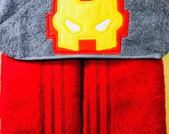 """Personalised Hooded Towel  """"Iron man""""  add name FREE"""