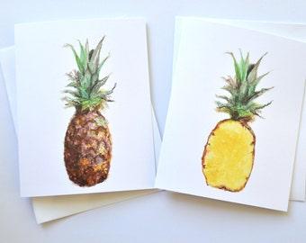 Pineapple Watercolor Notecard Set, Pineapple Notecard Set, Watercolor Cards, Fruit Notecards, Pineapple Notecard, Greeting Cards