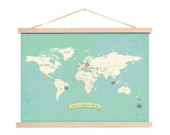 World Map with Stickers, My Travels Personalized World Map Wall Art Print  + Wood Frame Kit, 24x36, Nursery Wall Art, Kids Wall Art, Nursery
