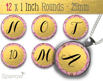 Gold Foil and Pink Alphabet & Numbers - One (1x1) Inch Bottle Cap Images -Digital Sheets -Scrapbooking -Buy 2 Get 1 Free -Digital Download