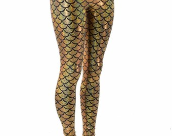 Gold Dragon Scale High Waist Mermaid Leggings  152259