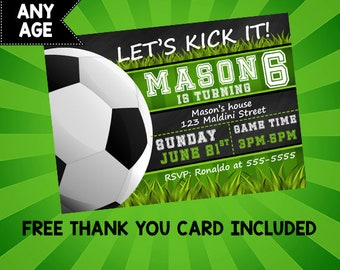 Soccer invitation etsy soccer ball birthday party invitation soccer lets kick it birthday invite soccer ball invitation soccer filmwisefo Image collections