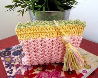 KNITTING BAG PATTERN Purse with Tassel Summer Purse Bag -Crochet Pouch with Tassel knitted wedding bag pdf pattern Instant Download