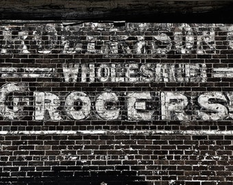 Black and White Kitchen Wall Decor, Black and White Photography, Retro Painted Ad, Old Grocery Store Sign, Wholesale Grocers Sign