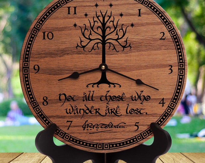Lord of the Rings Decor - JRR Tolkien Quote - LOTR - Middle Earth - White Tree - Tree of Gondor - Not All Who Wander Are Lost