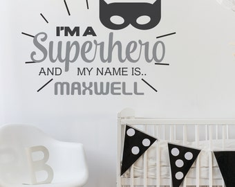 Personalised BATMAN I'm a Superhero Wall Art Sticker Decal Mural, Other Designs Available