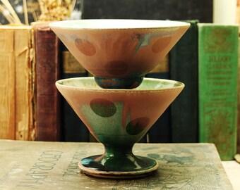 Two Sandblasted Martini Cups - Barware - Glassware
