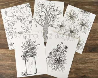Set of 5 original Coloring Art Print Postcards B&W 5x7 / Small Format Art Cards / sfa / Floral Coloring Pages / Post Cards