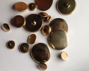 Vintage Buttons, Smooth Buttons, Destashed Buttons, Gold Colored Buttons, Brass Colored Buttons