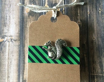 Squirrel Lapel Pin / Tie Tack - Antique Silver Tone - Tack Backing with CLutch Clasp