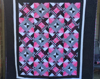Pink, Black and White Lap Quilt