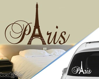 FREE SHIPPING Paris Tour Eiffel Tower Wall Decal or Car Decal ~ Custom Size and Color