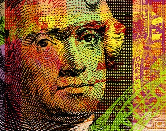 Thomas Jefferson Pop Art print - Banknote detail