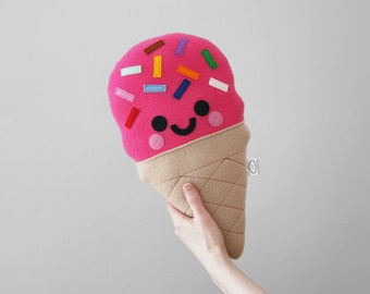 Pink Strawberry Ice Cream Plushie by hannahdoodle, Rainbow Sprinkles, Nursery Decor, Cute Handmade Accessory