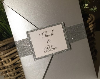 The 'Chuck & Blair' silver glitter Wedding invitation / Silver Wedding Invite
