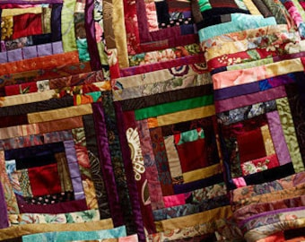 Handmade Log Cabin Quilt.....Memory Quilt....Retirement Quilt  Made from mens neck Ties or your clothes