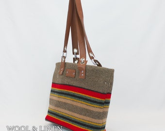 Travel Bag  with Leather Handle Made From Pendleton Wool,Yakima Camp Blanket, Weekender, Crossbody Bag