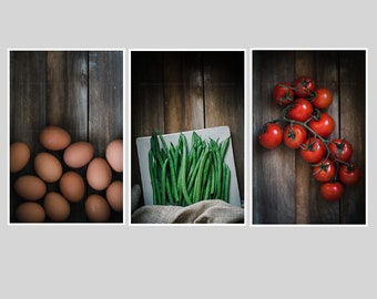 farmhouse kitchen decor set of 3 rustic food prints colorful food photography food photo set food wall montage fine art collection