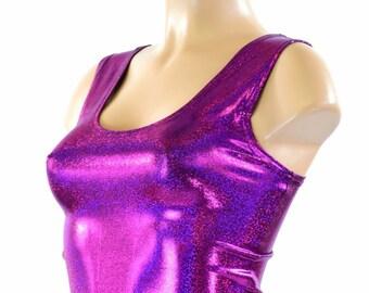 Fuchsia Purple Sparkly Jewel Tank Crop Top Spandex Clubwear Rave Festival Mermaid Top 151415