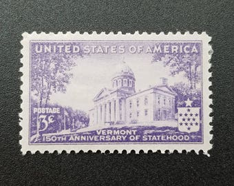Five (5) vintage unused 1930s postage stamps - Vermont, 150th anniversary, 3 cents