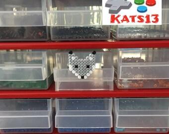 badges beads gray Fox hama Pixel Art handmade