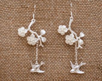 Flying Bird Earrings on Cherry Blossom Branch