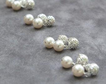 Bridesmaid Stud Earrings, Gift Set of 4, Vintage Style Bridesmaids Jewelry, Silver Filigree Posts, Pearl Drop Earrings