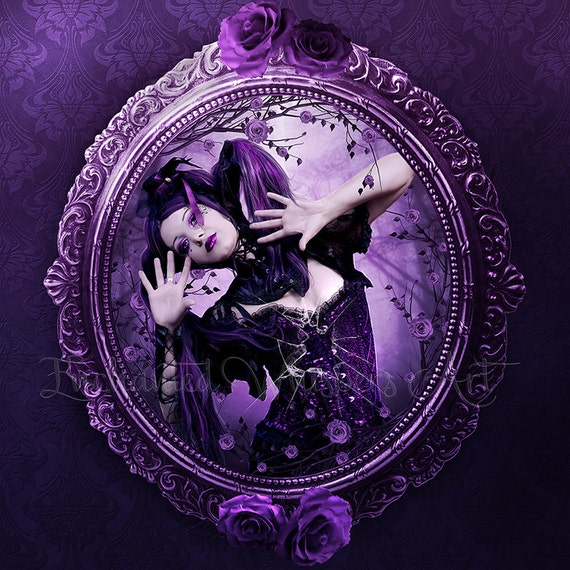 Gothic fantasy woman in frame print by Enchanted Whispers