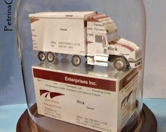 Semi Truck Tractor Trailer -Business Card Sculpture Item 1417 - Paper Model