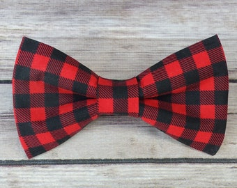 Plaid Dog Bow Tie / Buffalo Cat Bow Tie /  Bow Tie  / Collar Bow Tie / Dog Lover Gift / Red Dog Bow Tie / Black Cat Bow Tie