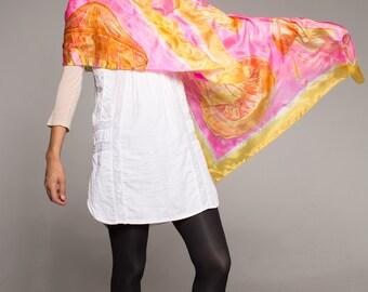 Hand painted silk shawl- Neon Jellyfish Pink Yellow scarf Bright summer shawl Painted pareo Luxury gift women Unique handmade scarf gift her