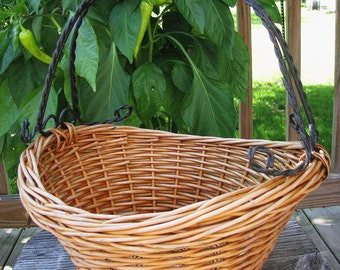 Wicker /  Rattan Gathering Basket with Metal Handle