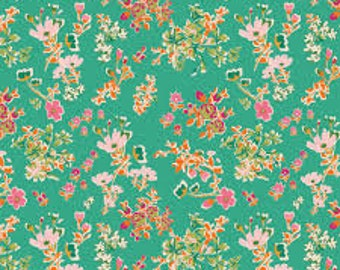 Priority Square  Cottagely Posy by Katy Jones Art Gallery Fabric PRS-215 green floral fabric, pink floral fabric