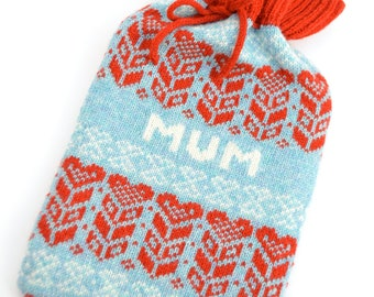 Personalised Blue & Red Nordic Heart Fair isle Knitted Hot Bottle cosy/cozy