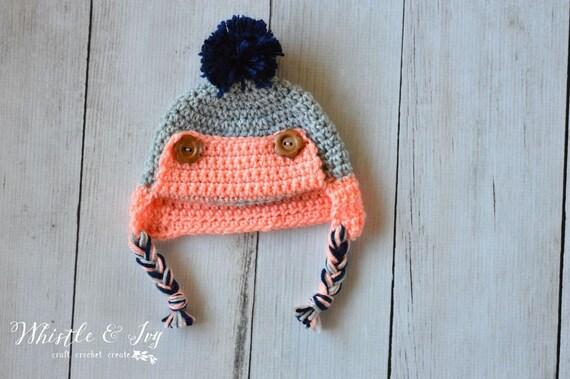 CROCHET PATTERN: Baby Button Trapper Hat Crochet Pattern pdf