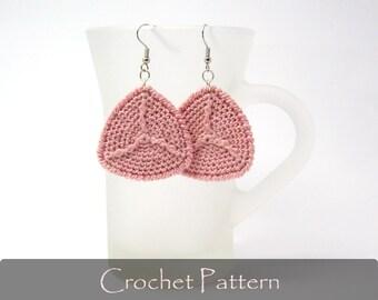 CROCHET PATTERN - Summer Earrings Triangle Crochet Pattern Earrings Tutorial Fabric Jewelry Crochet Pattern PDF - P0023
