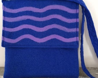 Royal Blue Felted Purse Wavy Pale Purple Felted Design Handmade Eco Friendly