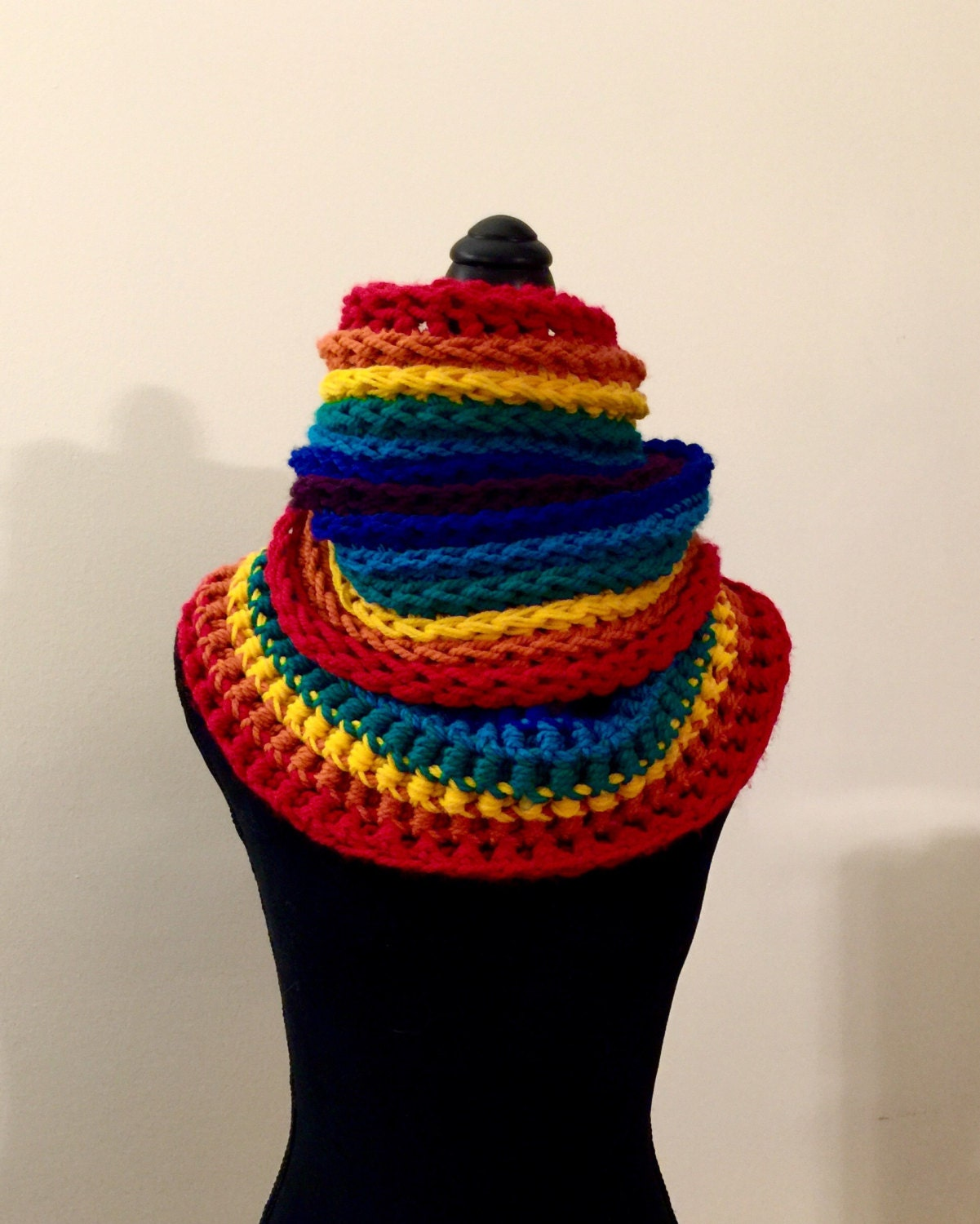 Infinity Scarf Cowl Wrap Large Handmade Rainbow Multicolor Stripes ...