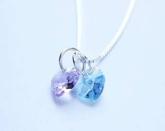 His and Her birthstones Swarovski Crystal charm necklace